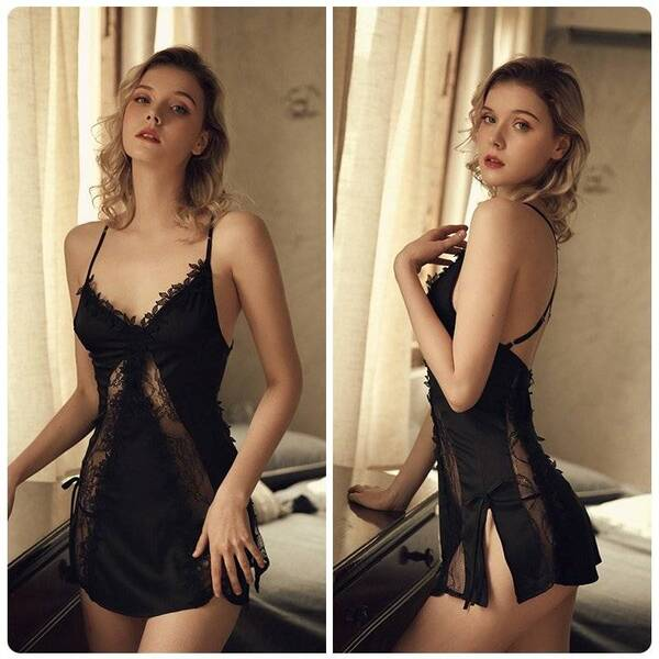 Women's Flowers Embroidered V-Neck Lace Nightgown Nightgowns & Sleepshirts Sleepwear & Loungwear Women's Clothing & Accessories