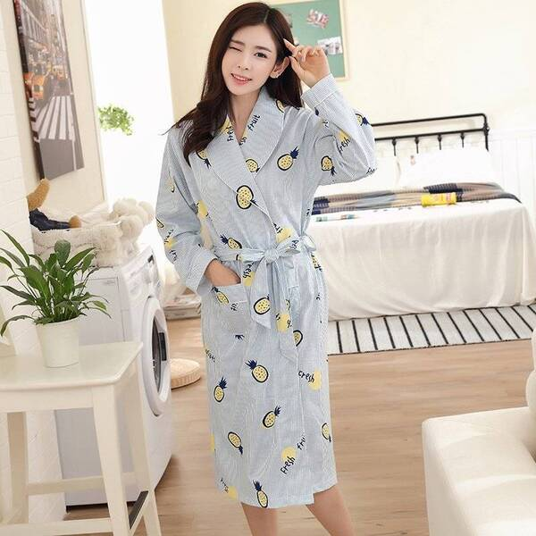 Women's Knee-Length Long Sleeve Cotton Robes Robes Sleepwear & Loungwear Women's Clothing & Accessories