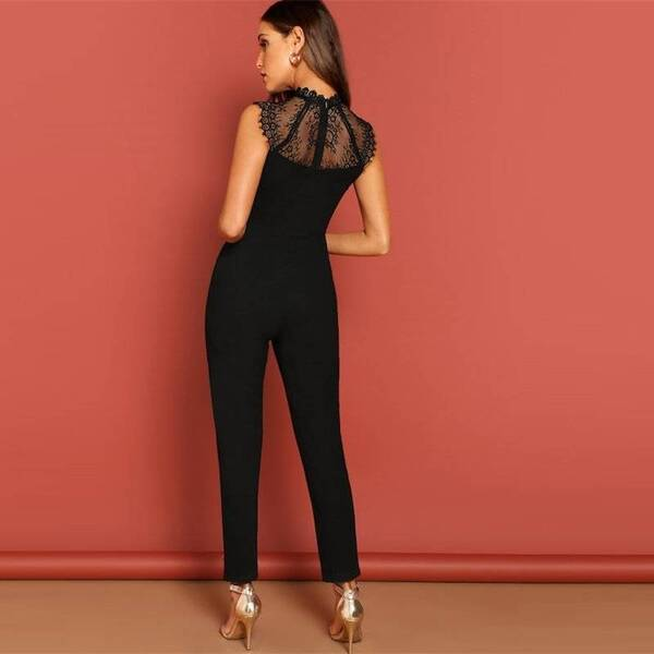 Women's Lace Embroidery Elegant Belted Jumpsuit Jumpsuits Suits & Sets Women's Clothing & Accessories