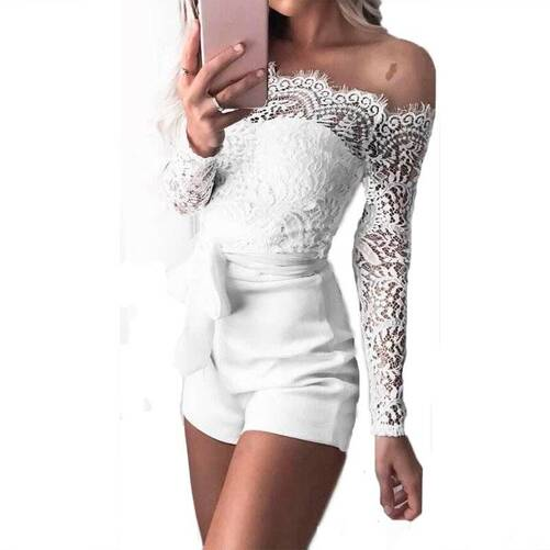Women's Lace Off Shoulder Romper Jumpsuits Suits & Sets Women's Clothing & Accessories