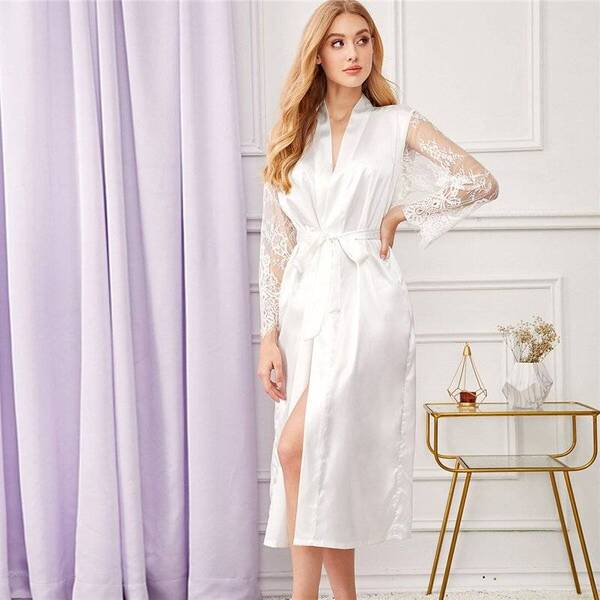 Women's Lace Sleeved Belted Robe Robes Sleepwear & Loungwear Women's Clothing & Accessories