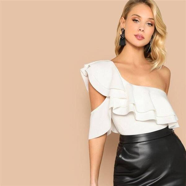 Women's Layered Design One Shoulder Bodysuit Bodysuits Suits & Sets Women's Clothing & Accessories