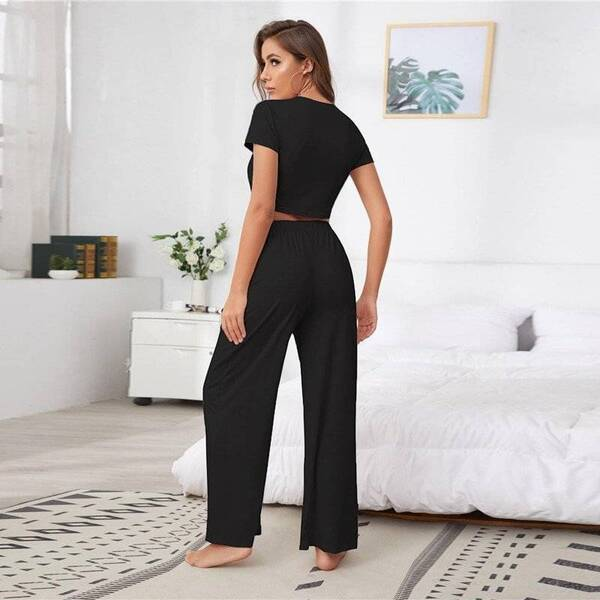 Women's Pajama Pants and Top with O-Neck Pajama Sets Sleepwear & Loungwear Women's Clothing & Accessories