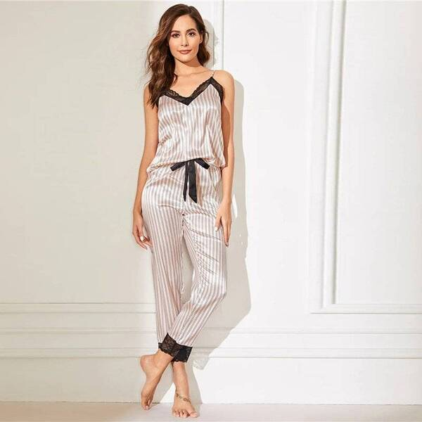 Women's Pajama Top and Pants with Black Lace Trim Pajama Sets Sleepwear & Loungwear Women's Clothing & Accessories