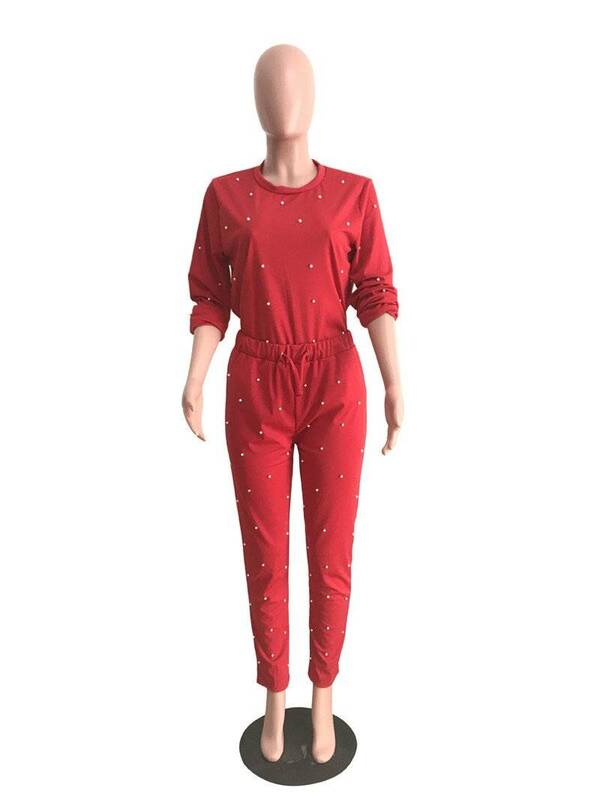 Women's Pearl Sweatshirt and Pants 2 Pcs Set Pants & Shorts Suits Suits & Sets Women's Clothing & Accessories