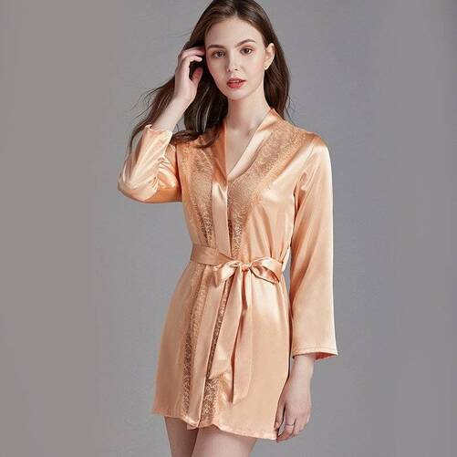 Women's Robe with See-Through Detailing Robes Sleepwear & Loungwear Women's Clothing & Accessories