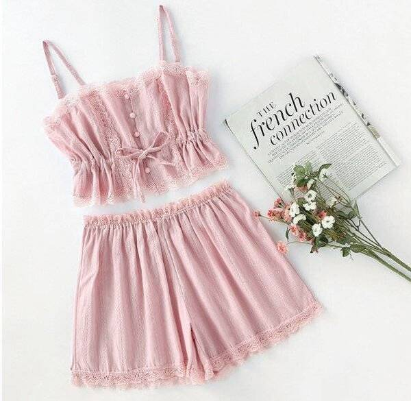 Women's Romantic Style Cami Top and Shorts Pajama Set Pajama Sets Sleepwear & Loungwear Women's Clothing & Accessories