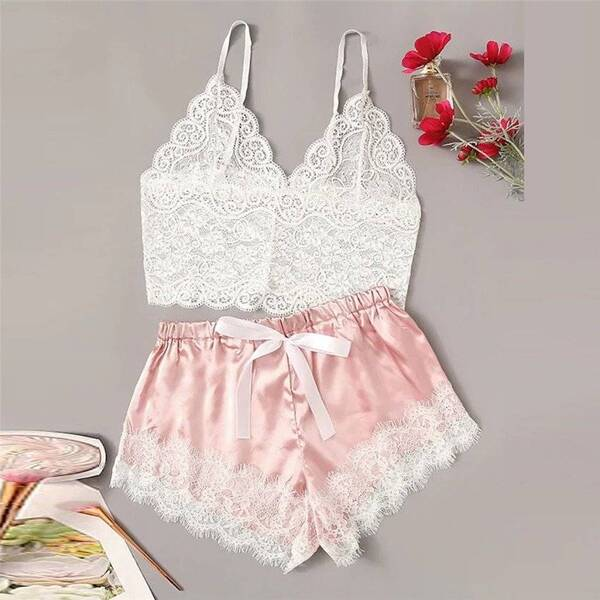 Women's Satin and Lace Pajamas Pajama Sets Sleepwear & Loungwear Women's Clothing & Accessories