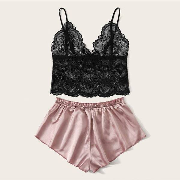 Women's Set of Lace Bralette and Satin Shorts Pajama Sets Sleepwear & Loungwear Women's Clothing & Accessories