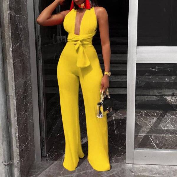 Women's Sexy Wide Leg Solid Jumpsuits Jumpsuits Suits & Sets Women's Clothing & Accessories