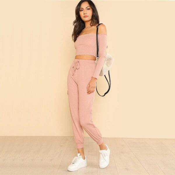 Women's Sport Style Pink Top and Pants Set Pants & Shorts Suits Suits & Sets Women's Clothing & Accessories