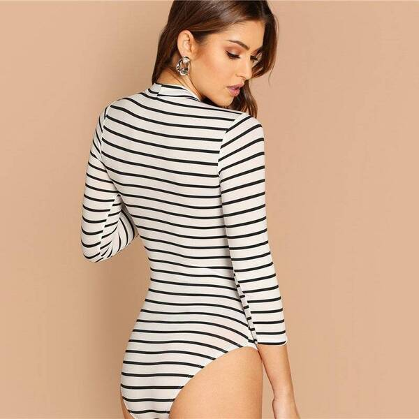Women's Striped Casual Style Bodysuit Bodysuits Suits & Sets Women's Clothing & Accessories