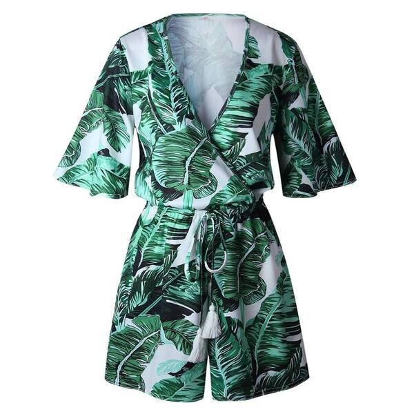 Women's Summer Leaves Printed Rompers Jumpsuits Suits & Sets Women's Clothing & Accessories
