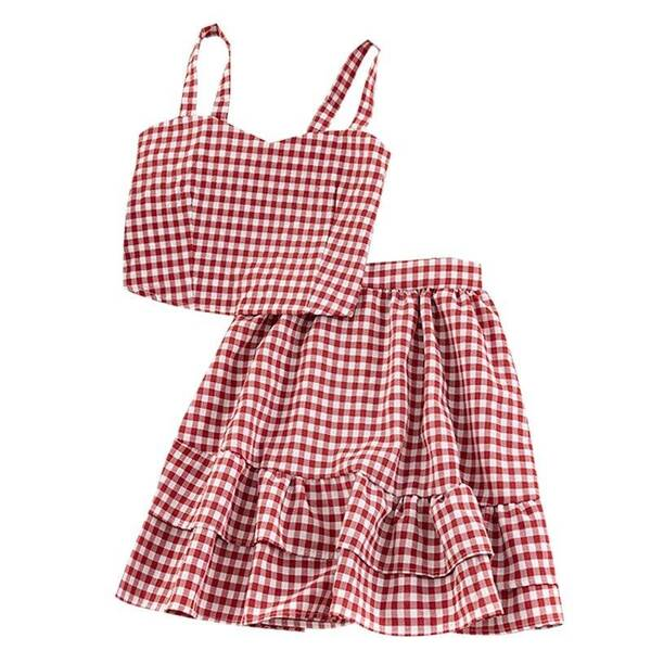 Women's Summer Plaid Two Pieces Sets Skirt Suits Suits & Sets Women's Clothing & Accessories