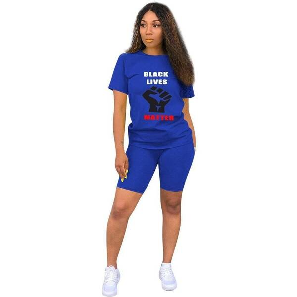 Women's Summer T-Shirt and Shorts Set with Black Lives Matter Print Pants & Shorts Suits Suits & Sets Women's Clothing & Accessories
