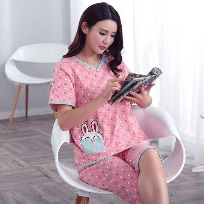 Women's V-Neck Rabbit Printed Pajamas Pajama Sets Sleepwear & Loungwear Women's Clothing & Accessories