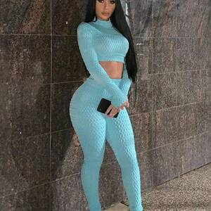 Women's Stylish Sport Top and Leggings Set Pants & Shorts Suits Suits & Sets Women's Clothing & Accessories