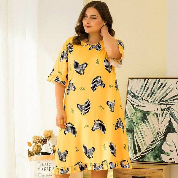 Yellow Plus Size Women's Nightgown in Zebra Print Nightgowns & Sleepshirts Sleepwear & Loungwear Women's Clothing & Accessories