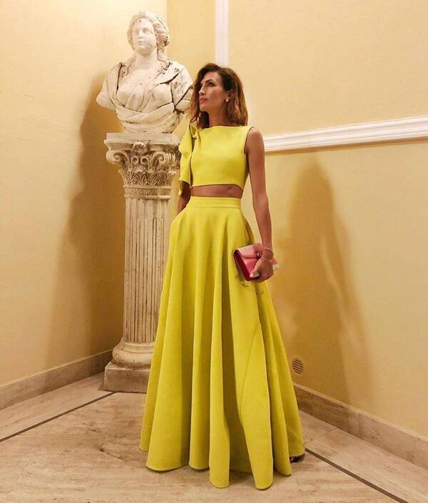 Yellow Sleeveless Crop Top and Skirt Set for Women Skirt Suits Suits & Sets Women's Clothing & Accessories
