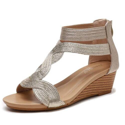 2021 Summer Women Sandals Flats Casual Gladiator Sandals Fashion Bling Gold Silver Knitted Beach Wedges Shoes Women Flip Flops Women Shoes Women's Sandals