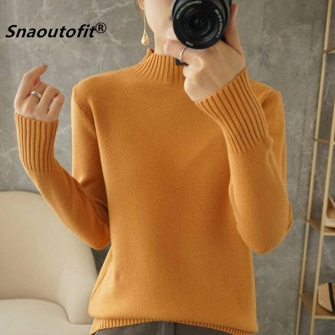 2021 Women's Sweater, Solid Color Wool, Half High Neck Pullover, Warmth, All-Match, Stylish Slim Fit, Large Size, Quality Hot Tops