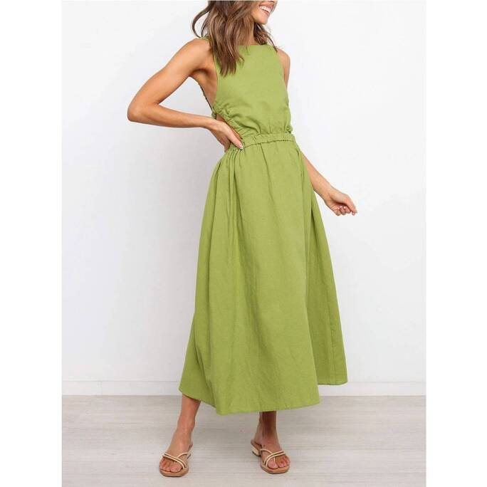 2021 summer new printed hollow waist strap dress open back solid color sexy cotton linen dress vintage dress for women clothing Tops