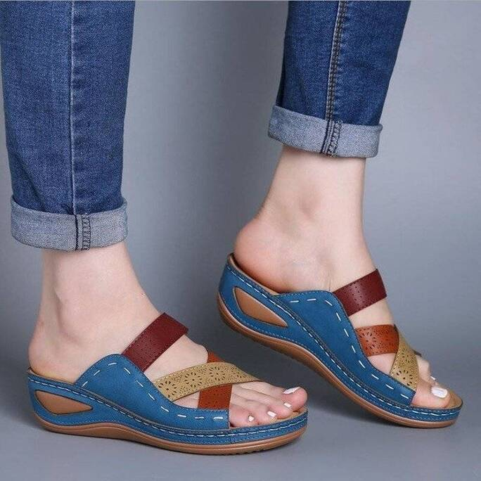 Wedge Slippers Women Summer Vintage Rome Slipper Casual Sewing Rome Beach Casual Shoes Sandals Female Ladies Platform Slides Women Shoes Women's Sandals