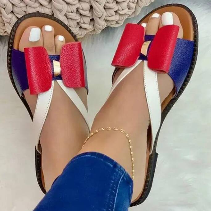 Woman Slippers 2021 New Flat Color-block Bow Female Sandals Summer Soft Comfy Casual Footwear Fashion Outdoor Beach Ladies Shoes Women Shoes Women's Sandals