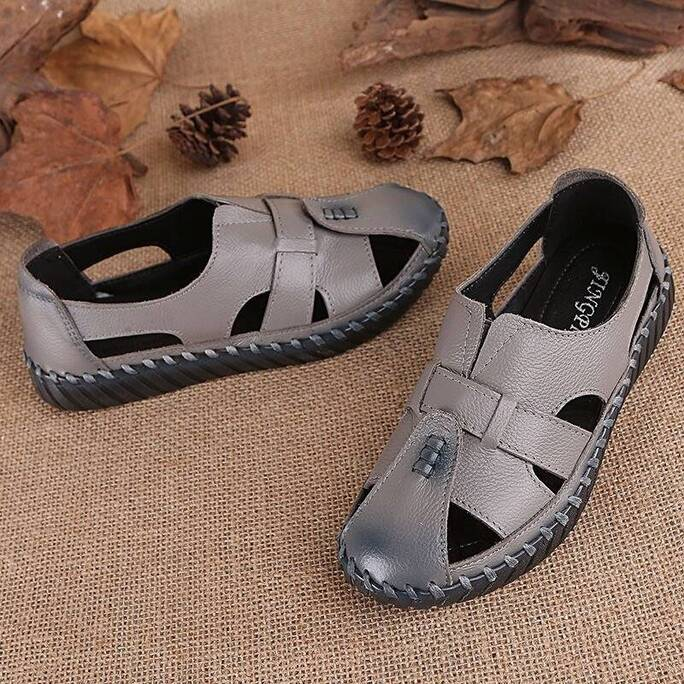 Big Size 42 43 Hollow Closed Toe Sandals For Women Soft Genuine Leather Vintage Shoes Ladie Summer Casual Beach Platform Sandals Women Shoes Women's Sandals