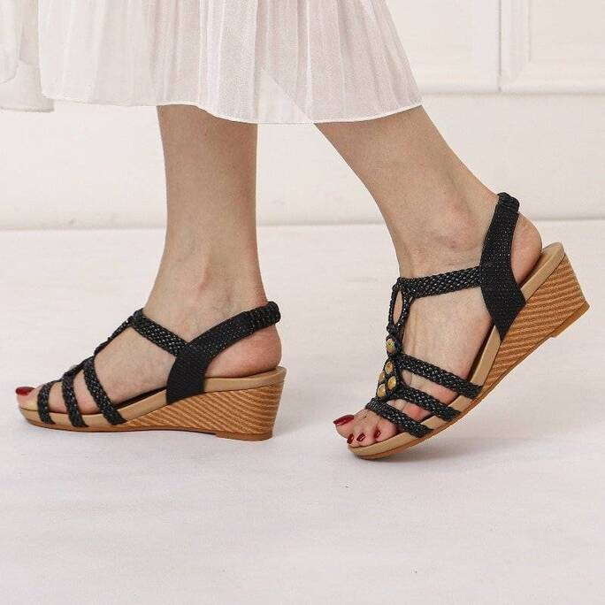 Classic Women's Sandals Shoes Wedges Summer Shoes For Women Fashion Knitted Gladiator Beach Shoes Ladies Flip-flops New 2021 Women Shoes Women's Sandals
