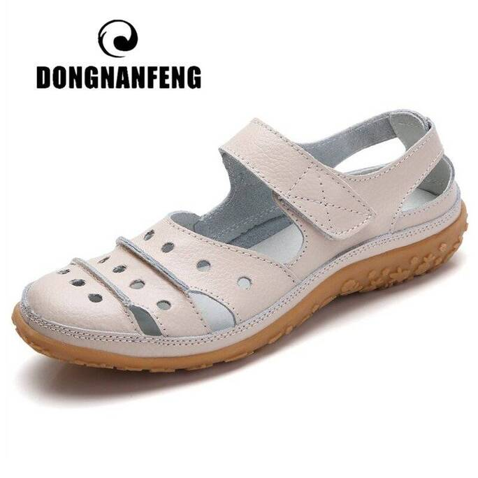DONGNANFENG Mother Women's Female Ladies Genuine Leather White Shoes Sandals Hook Loop Summer Cool Beach Hollow Soft LLX-9566 Women Shoes Women's Sandals