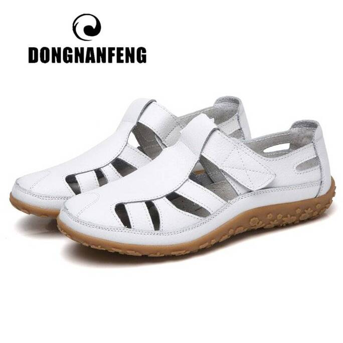 DONGNANFENG Women Ladies Female Mother Genuine Leather Shoes Sandals Gladiator Summer Beach Cool Hollow Soft Hook Loop LLX-9568 Women Shoes Women's Sandals