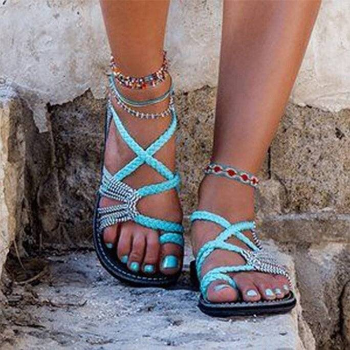 Hot Women's Sandals Large Size Women's Sandals Rope Knot Summer Europe The United States Beach Toe Flat Sandals Women's Shoes Women Shoes Women's Sandals