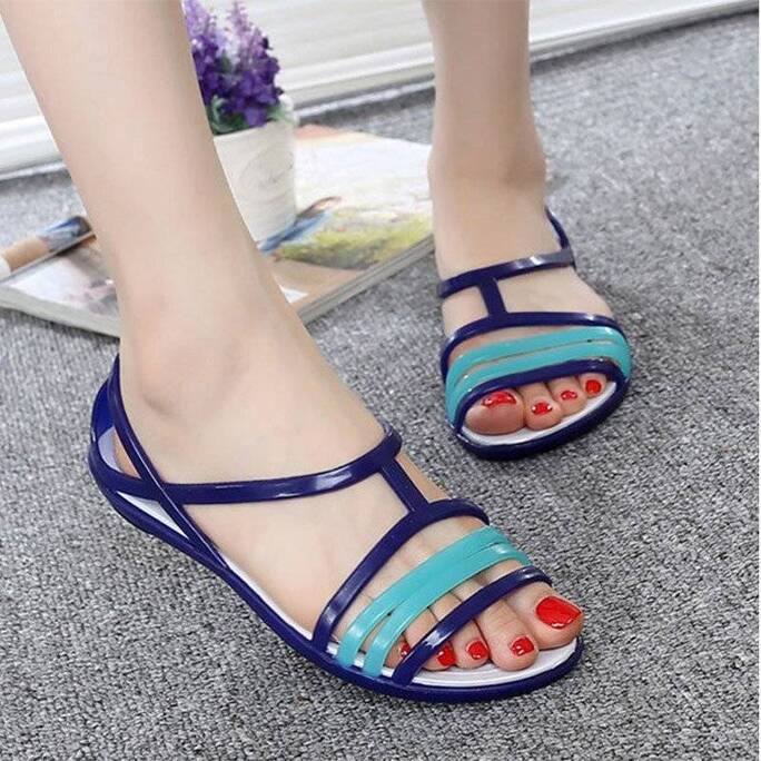 MCCKLE Women Rianbow Flat Jelly Sandals Female Casual Mixed Candy Color Ladies Slip on Soft Comfort Peep Toe Fashion Beach Shoes Women Shoes Women's Sandals