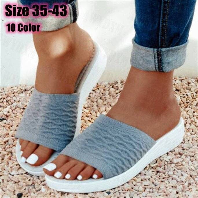 New Slippers Women Shoes 2021 Summer Open Toe Platform Sandals Ladies Soft Bottom Casual Knitted Beach Shoes Female Flip Flops Women Shoes Women's Sandals