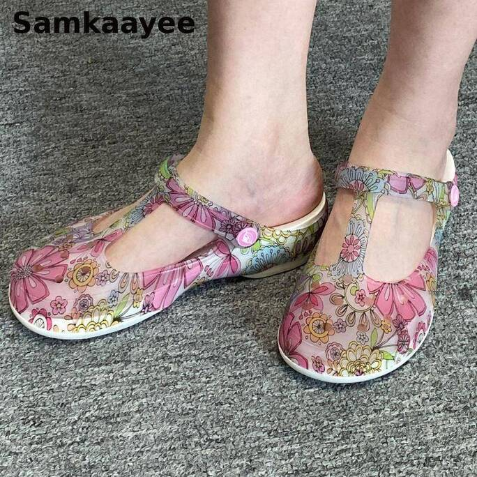 Sandals Women Shoes Slippers Summer Female Clogs Platform Print Slip-On Jelly Beach Size 35-39 Soft Bottom Breathable Zapatos 2 Women Shoes Women's Sandals