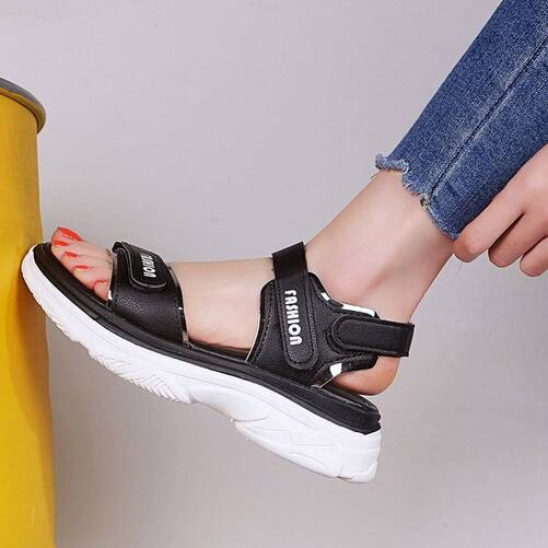 Sports Sandals Ladies Platform Shoes Woman Mid Heel Muffin Thick Bottom Hook Loop Fashion Casual Black Yellow Summer Shoes Women Shoes Women's Sandals