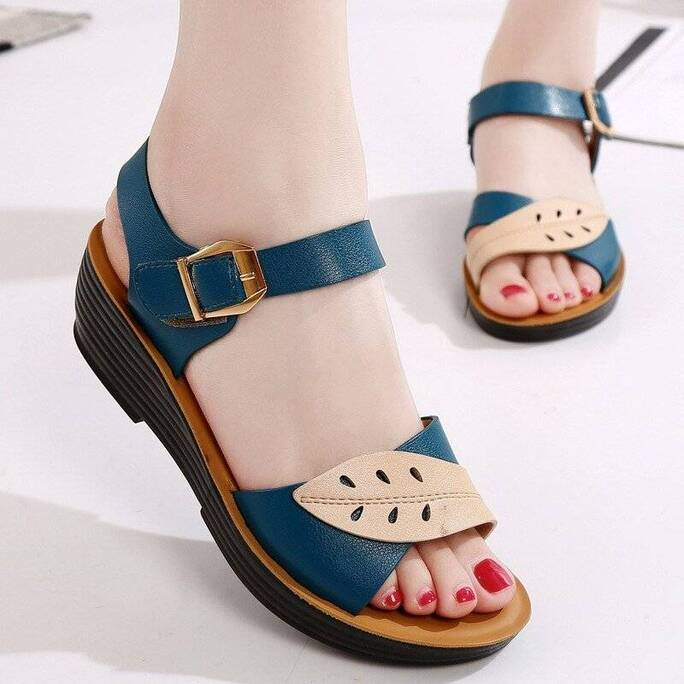 Summer Comfortable Flat with Sandals For Women Three Color Stitching Soft Ladies Sandals Open Toe Sandalias Femmes Beach Shoes Women Shoes Women's Sandals