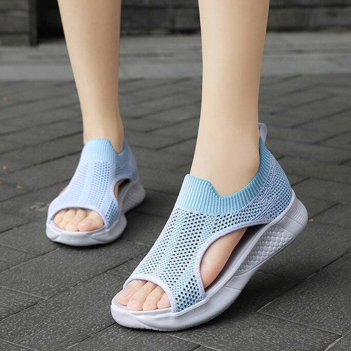 Summer Flats High Quality Flying Weave Beach Sandals Women Big Size Breathable Casual Sneakers Ladies Soft Non-slip Walking Shoe Women Shoes Women's Sandals