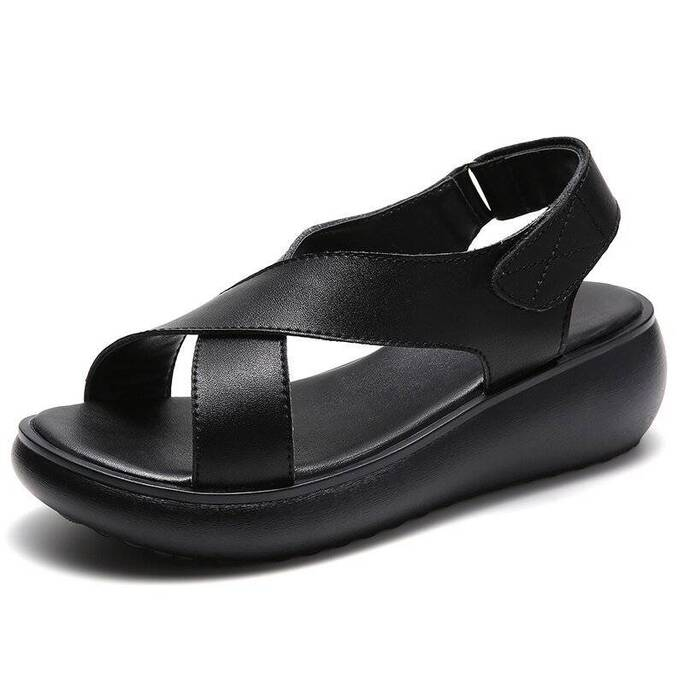 Summer Women Shoes 2021 Genuine Leather Soft Confortable Muffin Bottom Rubber Outsole Casual Leisure Lady Beach Sandals Women Shoes Women's Sandals