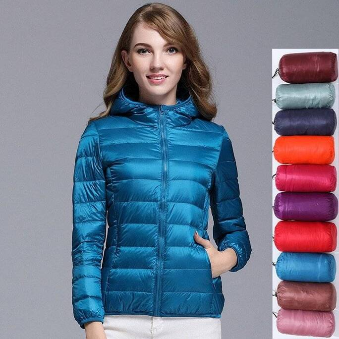 Women 90% White Duck Down Jacket Autumn Female Ultra Light Down Jackets Slim Solid Long Sleeve Hooded Parkas Candy Color Tops