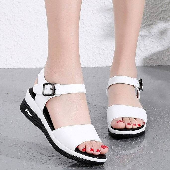 Women Female Ladies Mother Genuine Leather Shoes Sandals Flats Soft Hook Loop Korean Bling Summer Beach Fish's Mouth Wedge Women Shoes Women's Sandals