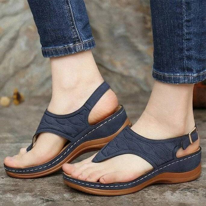 Women Sandals 2021 New Clip Toe Wedges Shoes For Women Summer Sandalias Mujer Beach Casual Heels Sandals Platform Flip Flops Women Shoes Women's Sandals