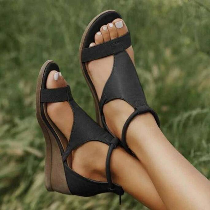 Women Sandals Solid Color Open Toe Zipper Wedges Ladies Shoes Summer New Beach Casual Female Footwear Women's Sandals Platform Women Shoes Women's Sandals
