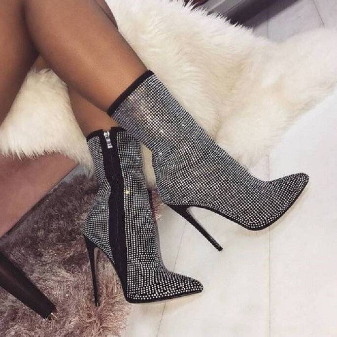 Women's Queen of the Night Rhinestones Ankle Boots Women Shoes Women's Boots